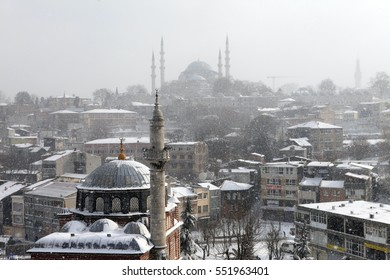 ISTANBUL,TURKEY-JANUARY 8 : istanbul winter a day. Suleymaniye Mosque and Seb Sefa Hatun Camii Unkapan?  while snowing on january 8, 2017 in Istanbul,Turkey.