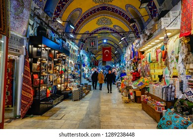 Istanbul,Turkey-January 8th,2018:Tourist passing by a lot of shops selling souvenir in the Grand Bazaar.This bazaar has hundreds of shopslot selling thousand of items for tourist to purchase