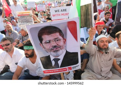 ISTANBUL,TURKEY-JULY 15: Islamic Party Saadet organised a meeting to support ousted Egyptian leader Mursi in Istanbul Turkey on July 15, 2013 in Istanbul,Turkey.