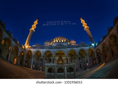 Istanbul,Turkey-July 8,2013 ; Suleymaniye Mosque Mahya of Abundance of Ramadan is written and hung between minarets of Suleymaniye Mosque. Mahya is to write with light especially during ramadan month