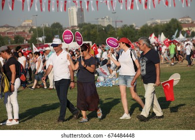ISTANBUL,TURKEY-JULY 9, Supporters of Turkey's main opposition Republican People's Party (CHP) gather during a rally in the Maltepe district of Istanbul, on July 9, 2017