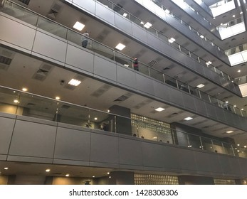 ISTANBUL,TURKEY,JUNE  18,2019:Interior view of the Istanbul Caglayan Justice Palace is a courthouse,Europe's biggest and world's most contemporary courthouse,in the sisli district of Istanbul,Turkey
