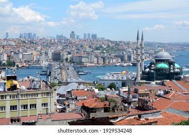 Istanbul,Turkey,june 29th 2018. Rooftop view looking across the Galata bridge towards the Karakoy district