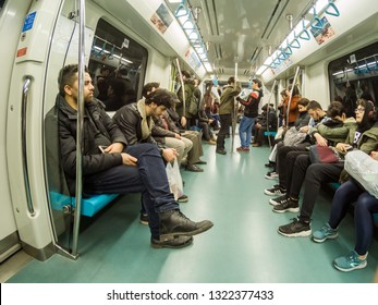 Istanbul,Turkey-March 02,2019: People travel in Marmaray train in Subway metro,Istanbul,Turkey