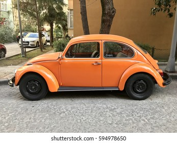 ISTANBUL,TURKEY-MARCH 07,2017:Vintage antique Volkswagen Beetle car parked in the street.