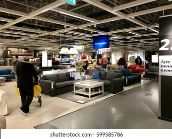 ISTANBUL,TURKEY-MARCH 11,2017:Ikea Store in Bayarampasa District.Interior view of furniture  room inside IKEA store. IKEA is the world's largest furniture retailer.