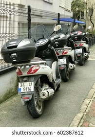 ISTANBUL,TURKEY-MARCH 15,2017:Motorcycle parking in the street