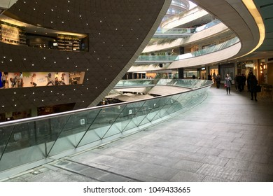 ISTANBUL,TURKEY-MARCH 19,2018:Kanyon shopping center.Kanyon is a multi-purpose complex located on the Buyukdere Avenue in the Levent business district of Istanbul, Turkey