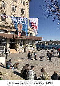 Istanbul,Turkey-March 22,2017:A banner of Turkish President Recep Tayyip Erdogan. Turkey will hold a referendum on April 16 to move to the presidential system.