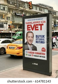Istanbul,Turkey-March 22,2017:A banner of Turkish President Binali Yildirim Turkey will hold a referendum on April 16 to move to the presidential system.
