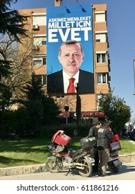 Istanbul,Turkey-March 30,2017:A banner of Turkish President Recep Tayyip Erdogan. Turkey will hold a referendum on April 16 to move to the presidential system.