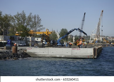 Istanbul,Turkey-May 02,2017:Marti Project Construction began in Kabatas coastline,Istanbul
