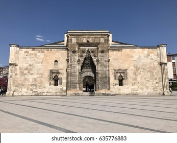 Istanbul,Turkey-May 06,2017:Buruciye Madrasah in Sivas.The medrese which has an open courtyard and four eyvans  is one of the most beautiful examples of Seljuk