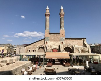 Istanbul,Turkey-May 06,2017:Cifte Minare Medrese has been built in 1271.its back a recent restoration shows the original ground plan, but it still is mainly important for its wonderful Seljuk facade