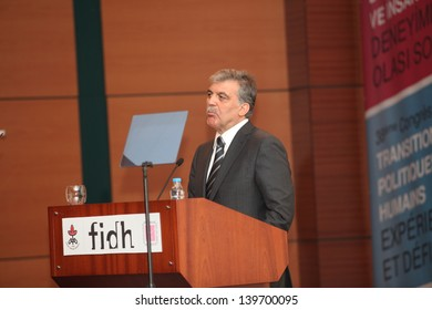 ISTANBUL,TURKEY-MAY 24 :Turkish President Abdullah Gul participated the 38th World Congress of the International Federation of Human Rights on May 24, 2013 in Istanbul,Turkey.