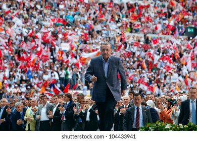 ISTANBUL,TURKEY-MAY 27,2012:The ruling AK Party' s fourth ordinary congress was held on May 27,2012 in Istanbul,Turkey.AK Party Leader and Prime Minister Recep Tayyip Erdogan greets party members.