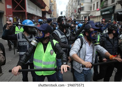 ISTANBUL,TURKEY-MAY 31: Police use tear gas and water cannons on the tense one year anniversary of the Gezi park protests which sparked wider unrest throughout Turkey on May 31,2014 in Istanbul,Turkey