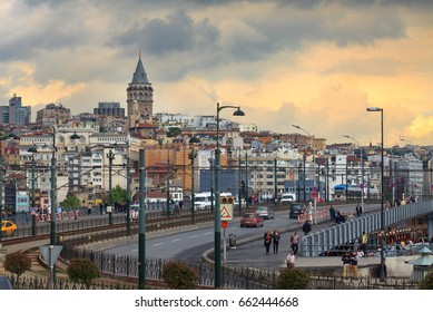 Istanbul,Turkey-May 5,2016 : Famous Galata tower and the Galata Bridge in Istanbul.View from Eminonu square.