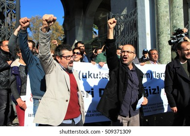 ISTANBUL,TURKEY-NOVEMBER 3 : Turkish academics, students protest against post-coup purges in Beyazit Square in Istanbul on November 3, 2016.