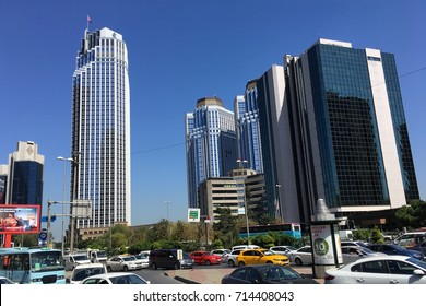 ISTANBUL,TURKEY-SEPTEMBER 13,2017:Buildings at finance center in Levent. Levent is a neighbourhood and one of the main business districts of Istanbul, Turkey, located on the European side of the city.