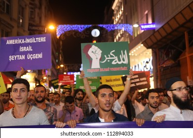 ISTANBUL,TURKEY-SEPTEMBER 14: Peaceful protest against anti-Islam film has been organized  on September 14, 2012 in Istanbul,Turkey.