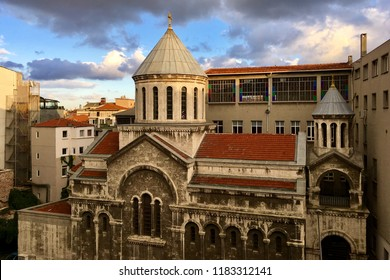 ISTANBUL,TURKEY,SEPTEMBER 18,2018:Exterior view of Church of the Holy Sepulcher,in Turkish,Surp Krikor Lusavoric Kilisesi.Armenian church located in the Karakoy,Beyoglu district of Istanbul in Turkey.