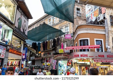 ISTANBUL,TURKEY,SEPTEMBER 5,2018: People shopping from Long Bazaar. Long Bazaar is located just at the heart of the city and offers wide variety of local and traditional products in Istanbul,Turkey