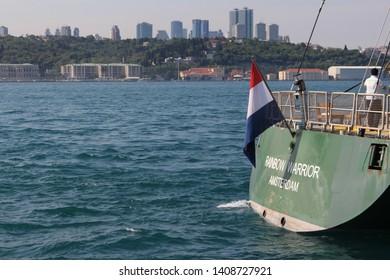 ISTANBUL-USKUDAR / 26-05-2019 - Greenpeace Rainbow Warrior Ship in İstanbul