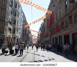 Istiklal Street in Taksim, Beyoglu, Istanbul, Turkey, 2018