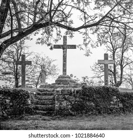 Istra, Croatia. In many places in Istria can be seen three crosses that are usually along the road. Black and white photo.