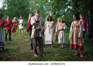 Istra. Russia. 2010.06.26.Summer solstice,pagan holidays of the Slavs. pagan holidays .pagan religion. Farewell game at the duda of the national holiday of the Eastern Slavs, dedicated to the summer