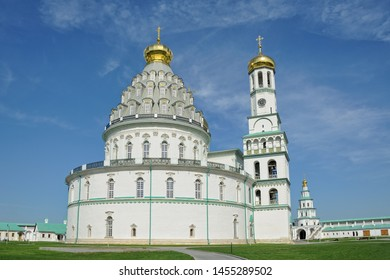 ISTRA, RUSSIA - The magnificent architectural ensemble of Rotunda of Resurrection Cathedral and seven-tier bell-tower on the grounds of the New Jerusalem Monastery in Istra.