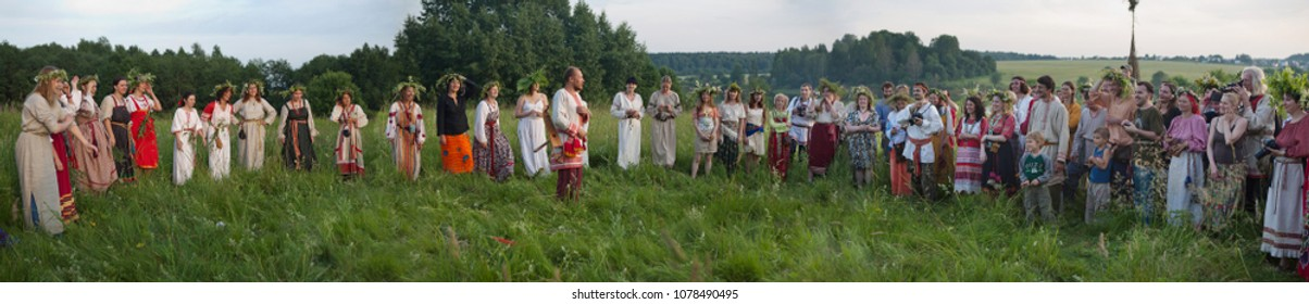 Istra.Russia.2010.06.26.pagan holidays of the Slavs. welcomes the people at the festival of Ivan Kupala. People in folk costumes take part in the performance. Panorama. Summer Solstice. summer solstic
