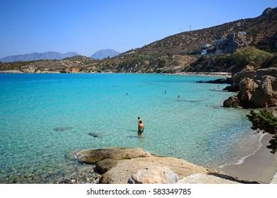 ISTRO, CRETE - SEPTEMBER 18, 2016 - Tourists relaxing on the beach, Istro, Crete, Greece, Europe, September 18, 2016.