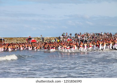 Isumi, Japan - September 23, 2018:Ohara Naked Festival (Ohara hadaka matsuri)  is a heroic and dynamic festival celebrated by semi naked men to pray for bumper crops and good catch of fish.