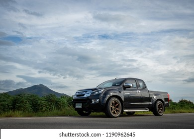 Isuzu D-max on blue sky and natural background.