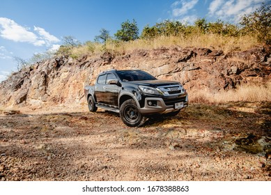 Isuzu D-max travel on mountain road in Nakhonnayok, Thailand 20 February 2020