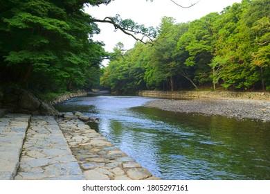 Isuzu River at Ise Grand Shrine (Ise Jingu Naiku - inner shrine), Ise City, Mie Pref., Japan