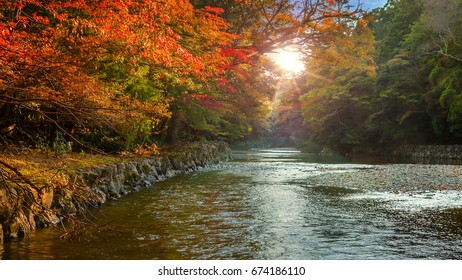 Isuzu river that runs through Ise Jingu Naiku(Ise Grand shrine - inner shrine) in Ise City, Mie Prefecture, Japan