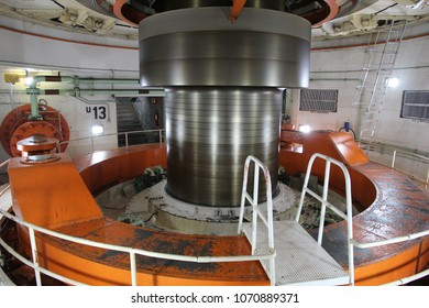 ITAIPU, BRAZIL - OCTOBER 11, 2014: Turbine shaft at Itaipu Binacional Power Plant. The famous hydro power plant is located on Paraguay-Brazil border and is shared between two countries.
