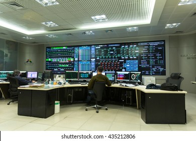 ITAIPU, BRAZIL/PARAGUAY - CIRCA JUNE 2016: Command room of Itaipu dam on river Parana on the border of Brazil and Paraguay