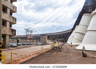 ITAIPU, BRAZIL/PARAGUAY - FEB 4, 2015: Giant penstocks of Itaipu dam on river Parana on the border of Brazil and Paraguay