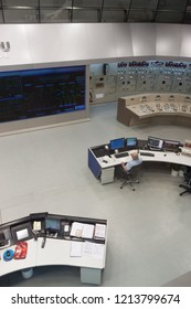 ITAIPU, BRAZIL/PARAGUAY - FEB 4, 2015: Command room of Itaipu dam on river Parana on the border of Brazil and Paraguay