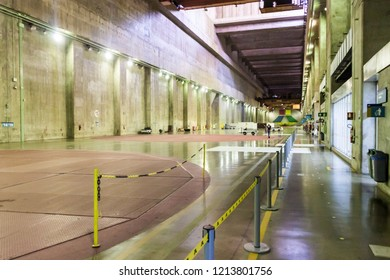 ITAIPU, BRAZIL/PARAGUAY - FEB 4, 2015: Generator hall of Itaipu dam on river Parana on the border of Brazil and Paraguay