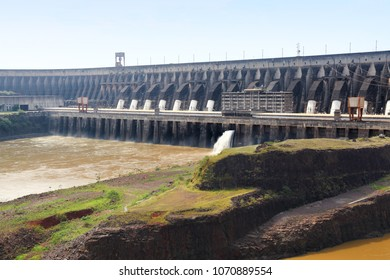 Itaipu Dam - hydroelectric power plant on Parana River. Border of Brazil and Paraguay.