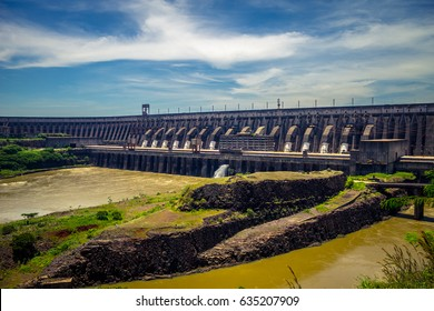 The Itaipu Dam is a hydroeletric on the Parana River, Foz do Iguazu, Parana, Brazil.