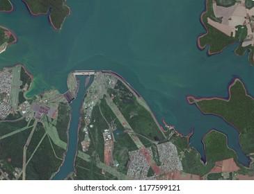 Itaipu Dam and Hydropower Plant with Piracema Channel ( Fish Gate ) -  Represa de Itaipú com Canal Piracema