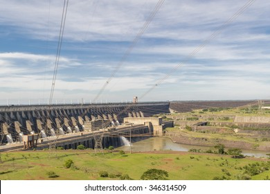 Itaipu hydroelectric power plant view from brazilian border