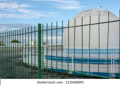 Itajai, Brasil, modern domed building with blue sky