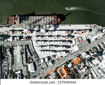 Itajai, Santa Catarina / Brazil - 01 02 2019: aerial view of APM Terminals Itajai and its urban surroundings